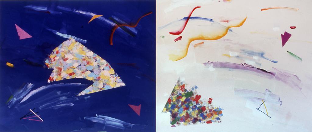 """Motive (1981) (diptych, acrylic/canvas, 66"""" x 156"""""""