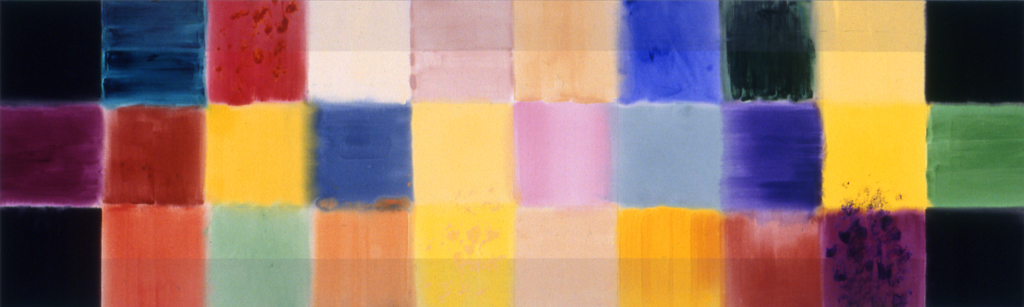 "Horizontal Cross (1992), acrylic/canvas, 36"" x 120"""