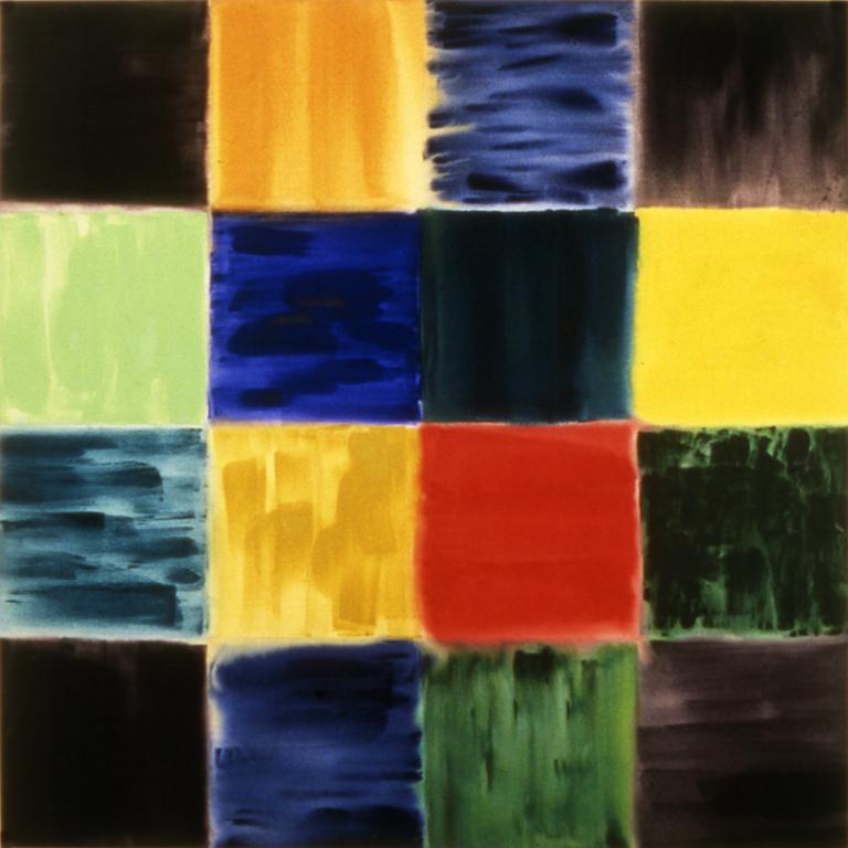 "Green Thinking Grid (1993), acrylic/canvas, 66"" x 66"""