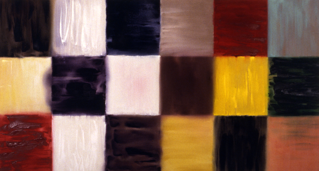 "Syntax (1994), acrylic/canvas, 42"" x 78"""