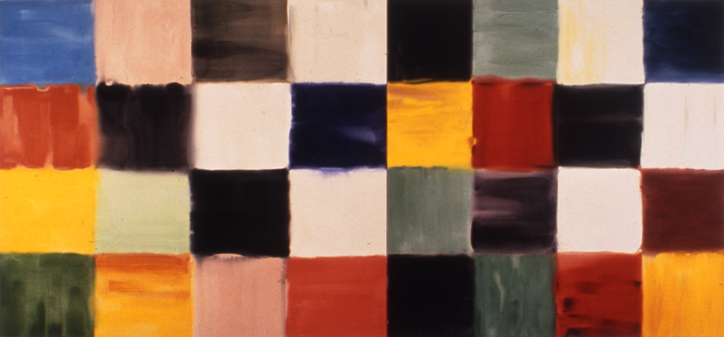 "Implications of the Grid (diptych) (1996), acrylic/canvas, 78"" x 168"""