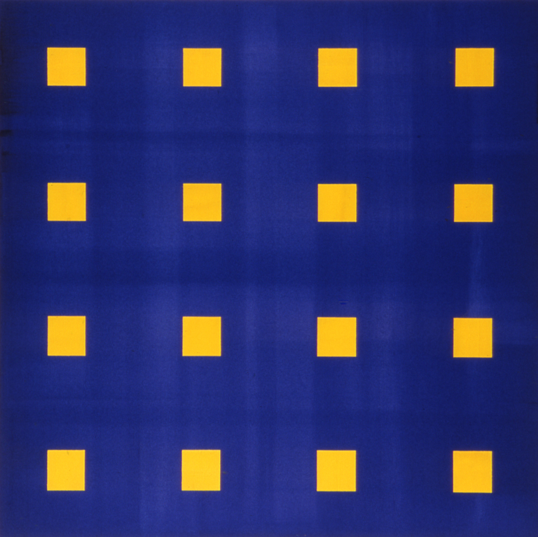 "Yellow Blue Screen (2003), acrylic/canvas, 36"" x 36"""