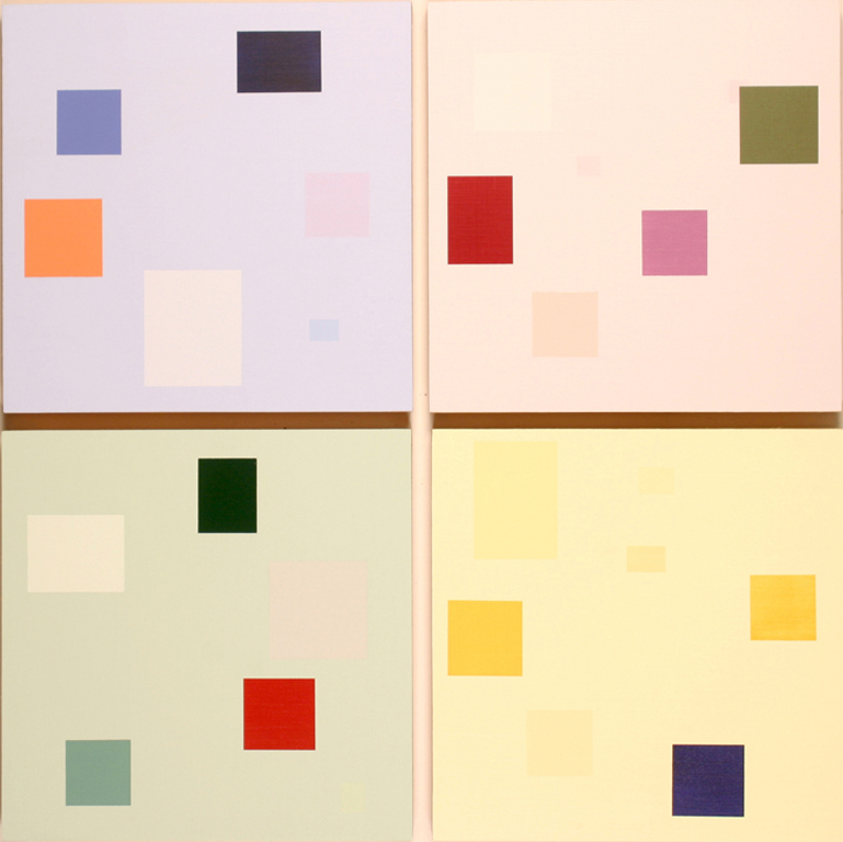 "Modular Quartet (2004) (set of 4), acrylic/panel, 16"" x 16"" ea."