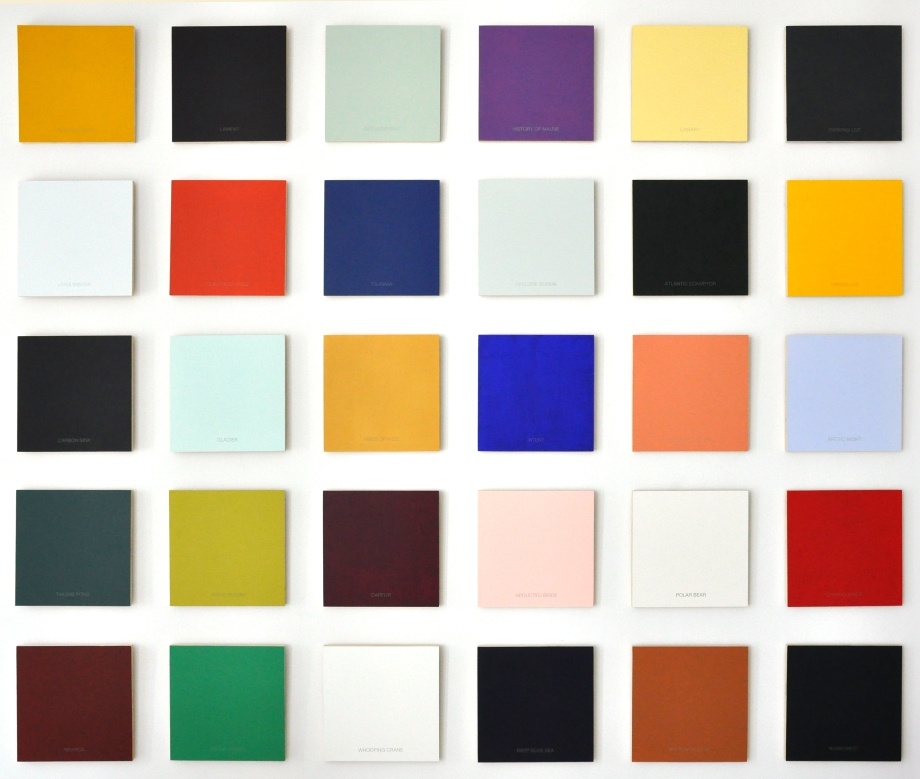 "Colour and Meaning: an Incomplete Palette (2007), (set of thirty) acrylic/silkscreen/panel, 12"" x 12"" ea."