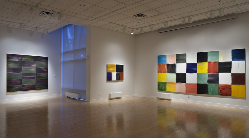 Galerie d'art d'Outremont (GAO), 2008 exhibition, Montreal. (From left), Urban Earth (1998), State of Being (1996), and Implications of the Grid (1996) (diptych), acrylic on canvas.