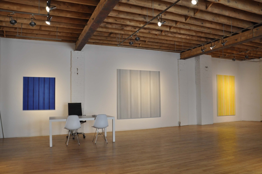 Walnut Contemporary, 2013 exhibition, Toronto (From left) Indigo for Kaz (2012), Everything and Nothing (2012), and #5 in Gold (2012)