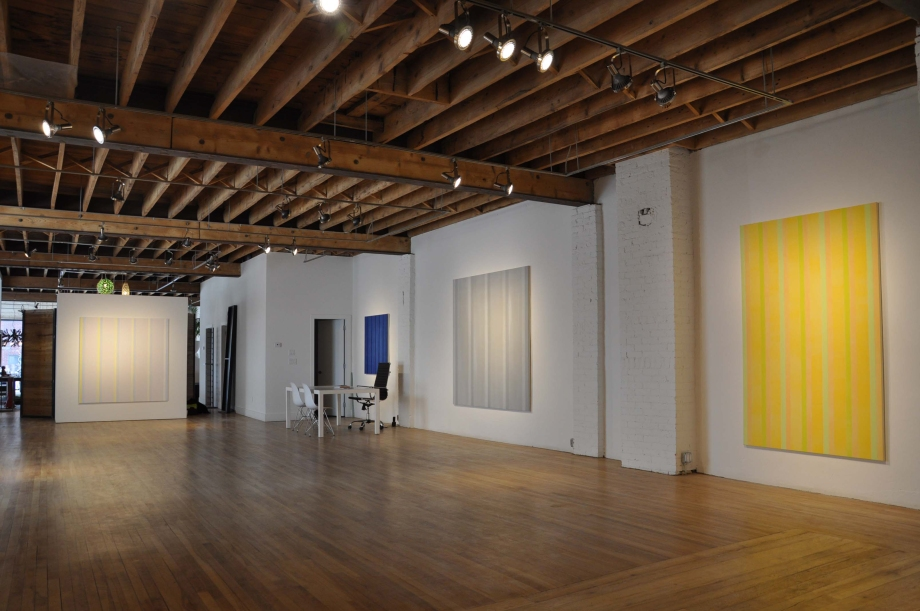 (From left) North Light (2012), Indigo for Kaz (2012), Everything and Nothing, (2012) and #5 in Gold (2012)