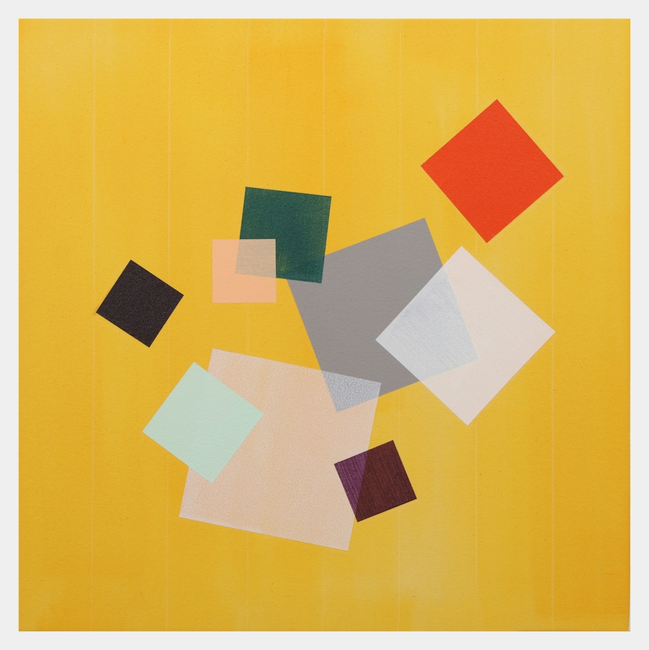 "Yellow Grid (2015), acrylic on canvas, 24"" x 24"""