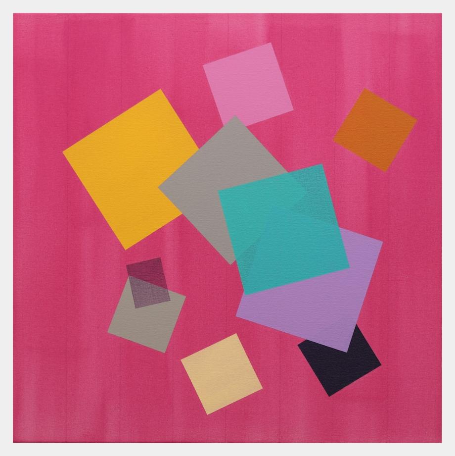 "Violet Grid (2015), acrylic on canvas, 24"" x 24"""