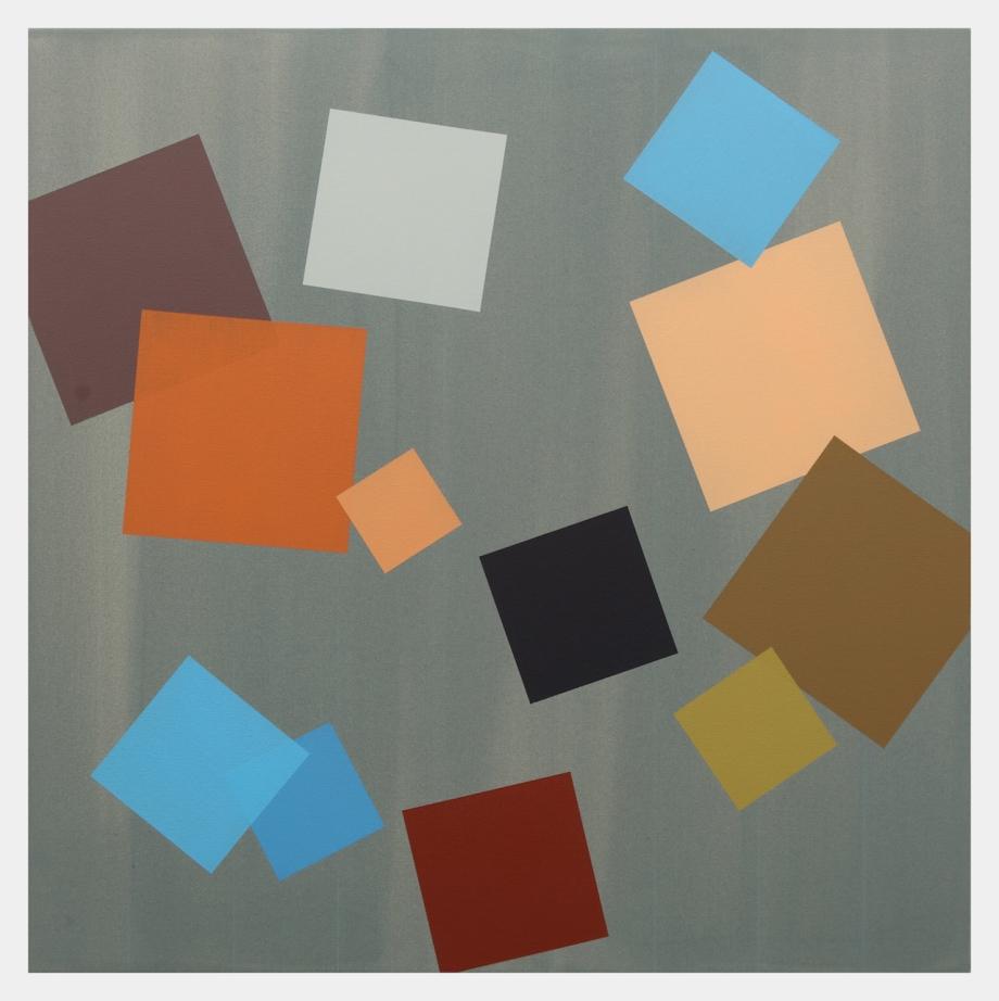 """Grey Grid (2015), acrylic on canvas, 24"""" x 24"""""""