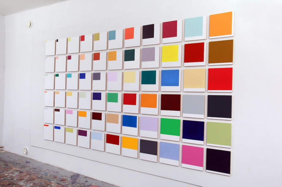 """Increments, (2015), acrylic on 66 birch panels, 12"""" x 12"""" each, installed dimension with 1 1/2"""" spacing, 79 1/2"""" x 147"""""""