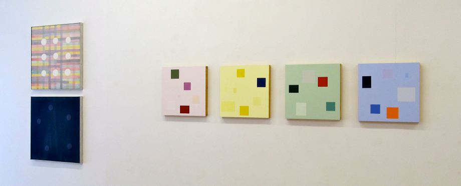 "From left - Universal Order No. 1 and Universal Order No. 2 (1999), acrylic on canvas, set of 2, 24"" x 24"" each - Modular Quartet (2004), No. 1, 2, 3 & 4, acrylic on panel, 16"" x 16"" each"