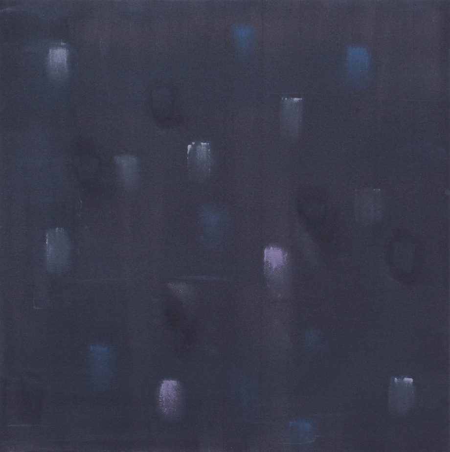 "Incident (Dark Grey), 2015, acrylic on canvas, #1 of set of 5, 24"" x 24"""