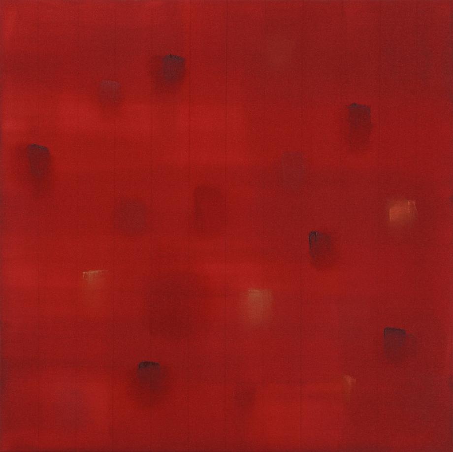 "Incident (Burnt Orange) 2015, acrylic on canvas, #4 of set of 5, 24"" x 24"""