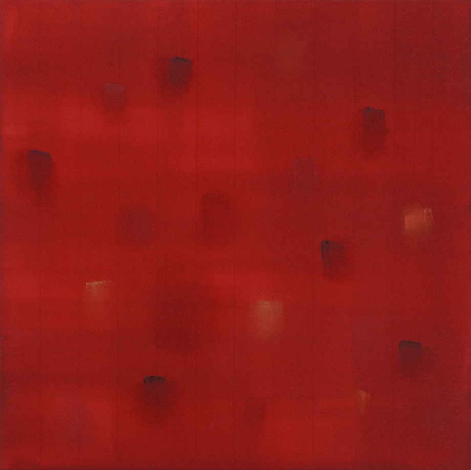 "Incident (Burnt Orange) 2015, acrylic on canvas, #4 of set of 5, 24"" x 24"""