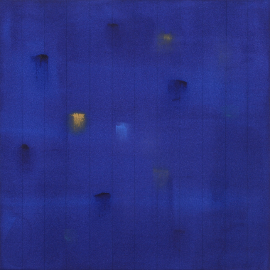 "Incident (Deep Blue) 2015, acrylic on canvas, #5 of set of 5, 24"" x 24"""