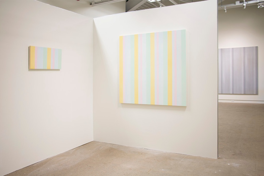 "Partial view of Breathing Room installation, Everything and Nothing (2012), acrylic on canvas, 78"" x 78"""