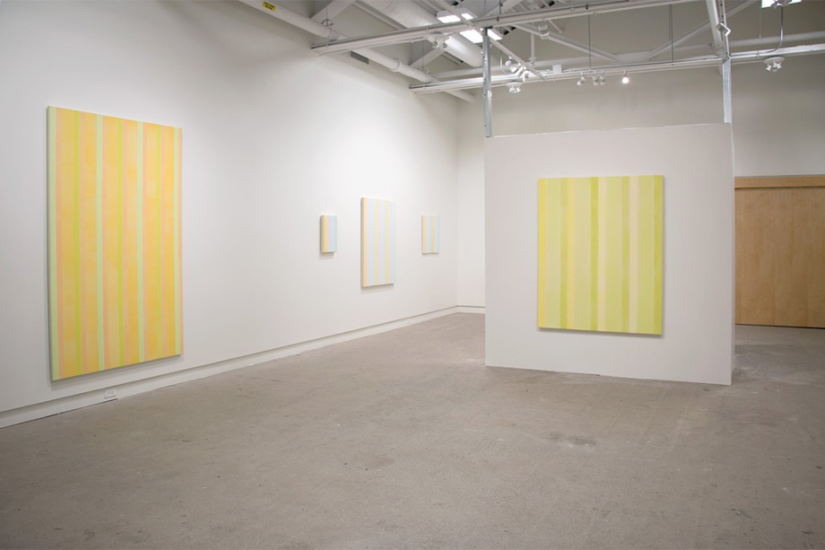 "From left - # 5 in Gold (2012), acrylic on canvas, 84"" x 54"", partial view of Breathing Space Room (2013), 7 pieces, acrylic on canvas, varying sizes, Eternal Hope (2012), acrylic on canvas, 60"" x 48"""