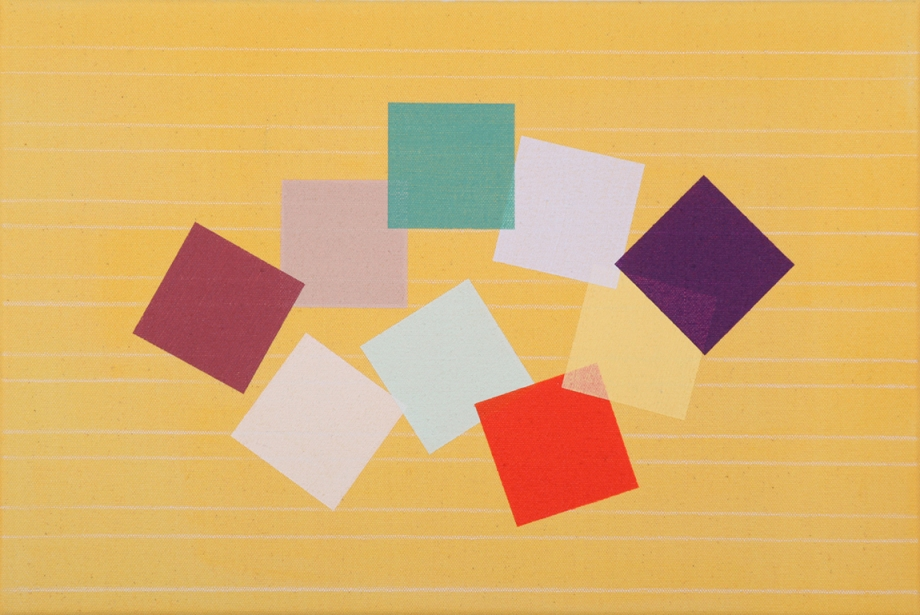 "Grid Play (yellow) 2014, acrylic on canvas, 12"" x 18"""