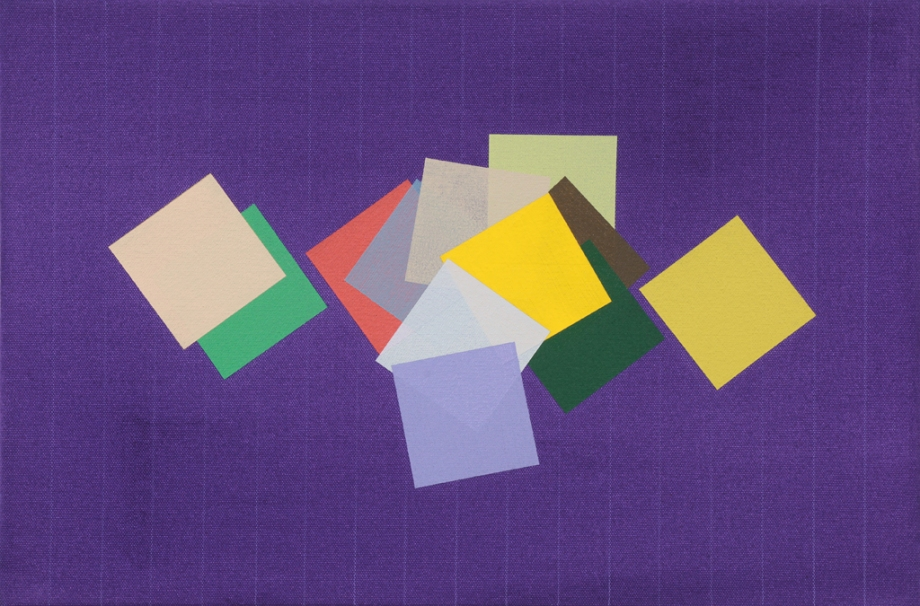 "Grid Play (purple) (2014, acrylic on canvas, 12"" x 18"""