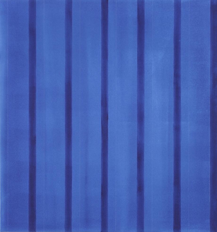 "Indigo (for Kaz Nakamura) 2012, acrylic on canvas, 45"" x 42"""