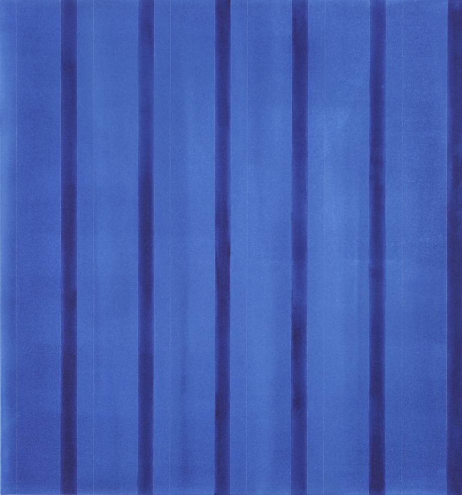 "Indigo (for Kaz Nakamura) 2012, acrylic on canvas, 45"" x 42"""