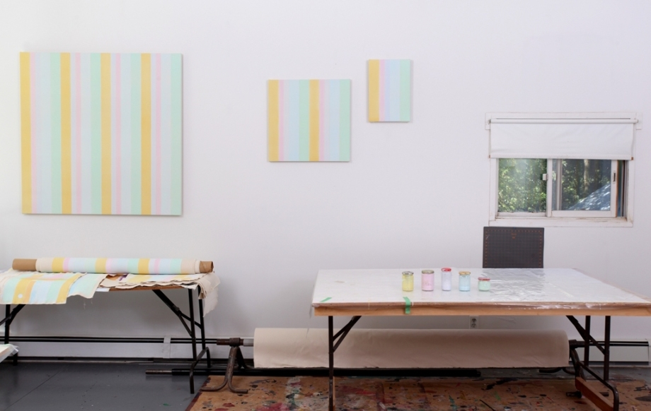 Breathing Space Room, 2013, acrylic on canvas, detail of studio installation, 3 of 7 pieces